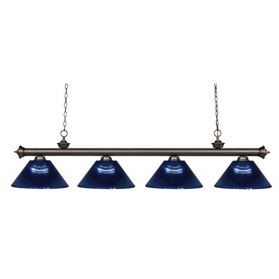Riviera 4-Light Kitchen Island Pendant Shade Color: Dark Blue, Finish: Olde Bronze
