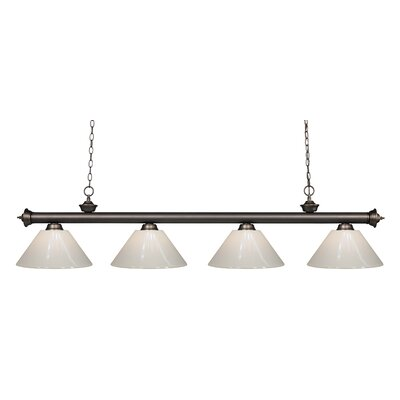 Zephyr Contemporary 4-Light Kitchen Island Pendant Finish: Olde Bronze, Shade Color: White