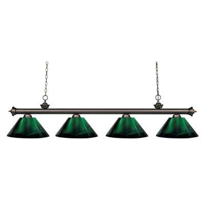 Riviera 4-Light Kitchen Island Pendant Shade Color: Green, Finish: Olde Bronze