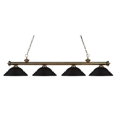 Zephyr 4-Light Metal Shade Kitchen Island Pendant Finish: Antique Brass, Shade Color: Matte Black