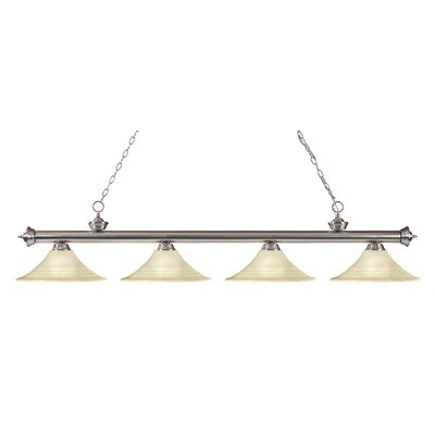 Zephyr 4-Light Glass Shade Kitchen Island Pendant Finish: Brushed Nickel, Shade Color: Golden Mottle