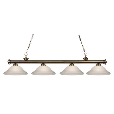 Zephyr 4-Light Bell Shade Kitchen Island Pendant Shade Color: White, Finish: Antique Brass
