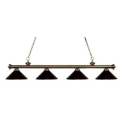 Zephyr 4-Light Kitchen Island Pendant Finish: Antique Brass, Shade Color: Bronze
