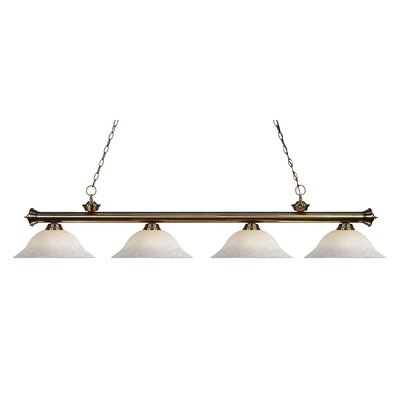 Zephyr 4-Light Steel Kitchen Island Pendant Finish: Antique Brass, Shade Color: White Mottle