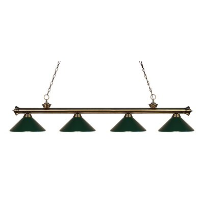 Riviera 4-Light Kitchen Island Pendant Shade Color: Dark Green, Finish: Antique Brass