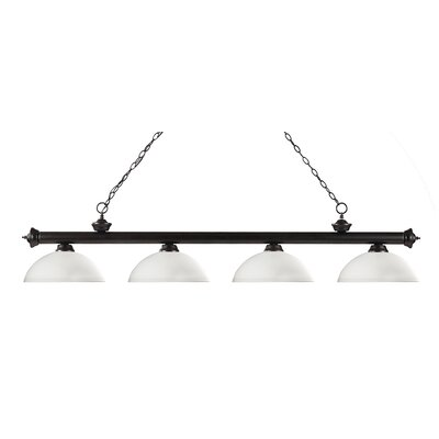Zephyr 4-Light Bowl Shade Kitchen Island Pendant Finish: Bronze, Shade Color: Matte Opal