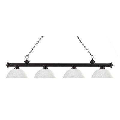 Riviera 4-Light Kitchen Island Pendant Shade Color: White Linen, Finish: Bronze