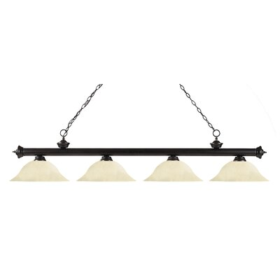 Zephyr 4-Light Steel Kitchen Island Pendant Finish: Bronze, Shade Color: Golden Mottle