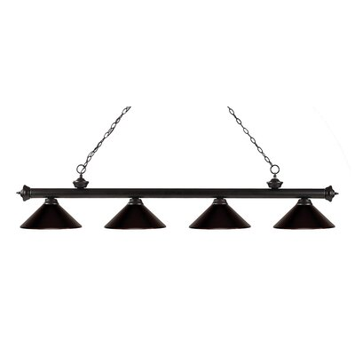 Zephyr 4-Light Kitchen Island Pendant Finish: Bronze, Shade Color: Bronze
