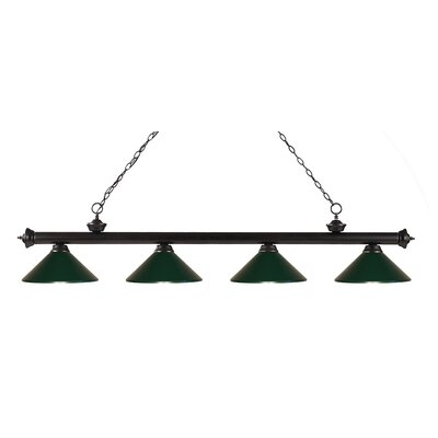 Zephyr 4-Light Kitchen Island Pendant Finish: Bronze, Shade Color: Dark Green