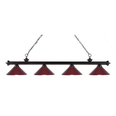 Zephyr 4-Light Kitchen Island Pendant Shade Color: Dark Wine, Finish: Bronze