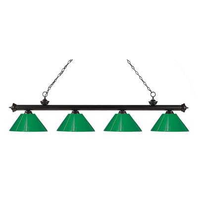 Zephyr Contemporary 4-Light Kitchen Island Pendant Shade Color: Green, Finish: Bronze