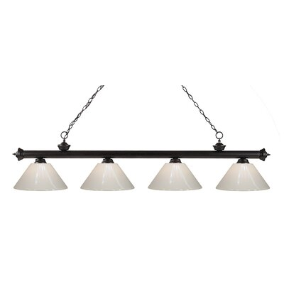 Zephyr Contemporary 4-Light Kitchen Island Pendant Shade Color: White, Finish: Bronze