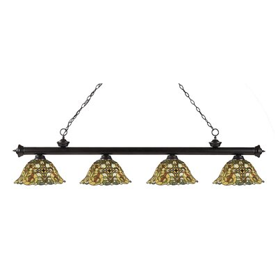 Bristoly Bell Shade 4-Light Kitchen Island Pendant Finish: Bronze