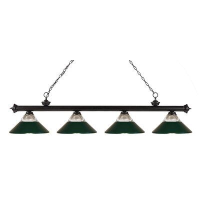 Riviera 4-Light Kitchen Island Pendant Finish: Bronze, Shade Color: Dark Green