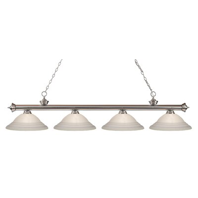 Zephyr 4-Light Bell Shade Kitchen Island Pendant Finish: Brushed Nickel, Shade Color: White