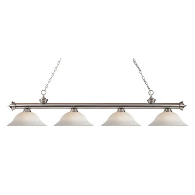 Zephyr 4-Light Steel Kitchen Island Pendant Finish: Brushed Nickel, Shade Color: White Mottle