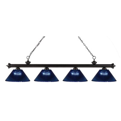 Chapple 4-Light Kitchen Island Pendant Finish: Bronze, Shade Color: Dark Blue