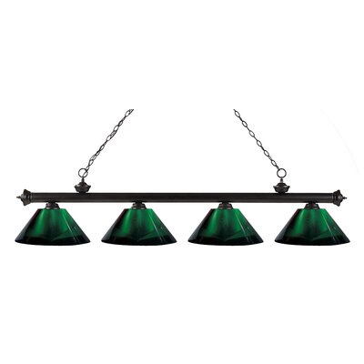 Riviera 4-Light Kitchen Island Pendant Shade Color: Green, Finish: Bronze