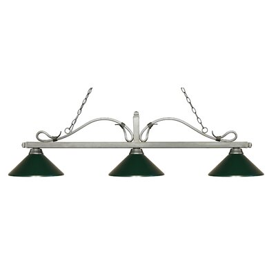 Melrose 3-Light Billiard Light Finish: Antique Silver, Shade Color: Dark Green