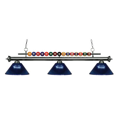Shark 3-Light Billiard Light Shade Color: Dark Blue, Finish: Gun Metal