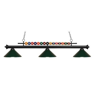 Chapa 3-Light Billiard Light Finish: Matte Black, Shade Color: Dark Green