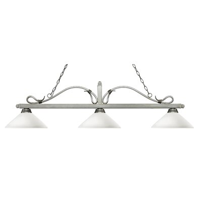 Melrose 3-Light Billiard Light Shade Color: Angle Mottle Opal, Finish: Antique Silver