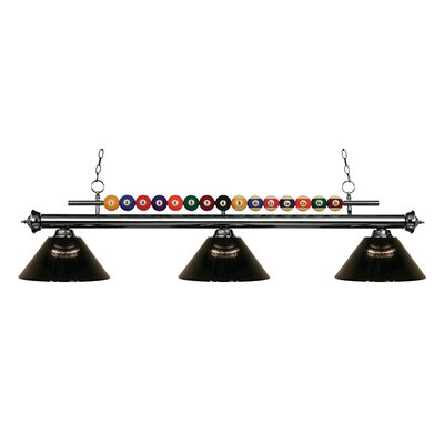 Chapa 3-Light Billiard Light Finish: Gun Metal, Shade Color: Smoke