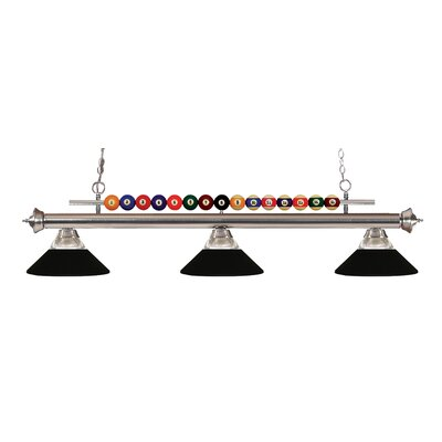Shark 3-Light Billiard Light Shade Color: Clear / Matte Black, Finish: Brushed Nickel