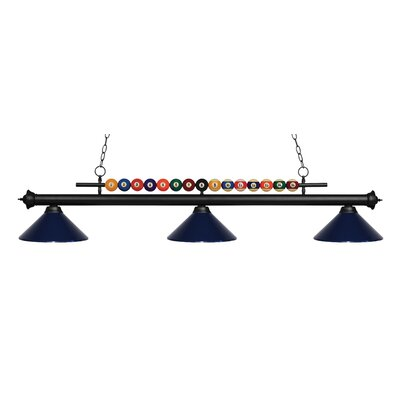 Chapa 3-Light Billiard Light Finish: Matte Black, Shade Color: Navy Blue