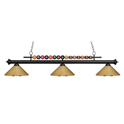 Chapa 3-Light Billiard Light Finish: Matte Black, Shade Color: Polished Brass