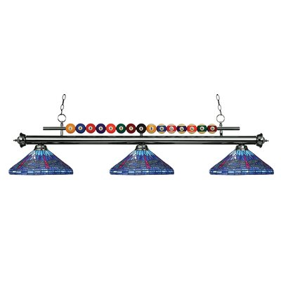 Chapa 3-Light Billiard Light Finish: Gun Metal, Size: 15 H x 60 W x 16 D