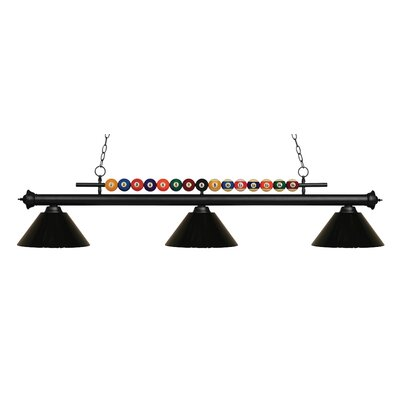Shark 3-Light Billiard Light Shade Color: Black, Finish: Matte Black