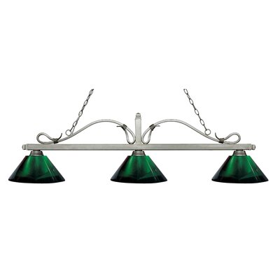 Cendejas 3-Light Billiard Light Finish: Antique Silver, Shade Color: Green