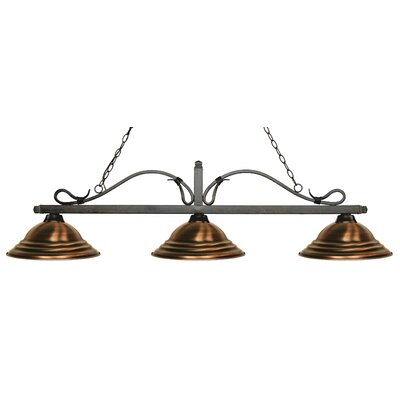 Cendejas 3-Light Billiard Light Finish: Golden Bronze, Shade Color: Stepped Antique Copper