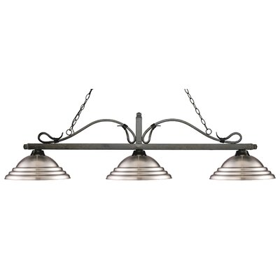 Cendejas 3-Light Billiard Light Finish: Golden Bronze, Shade Color: Stepped Brushed Nickel