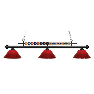 Chapa 3-Light Billiard Light Finish: Matte Black, Shade Color: Red