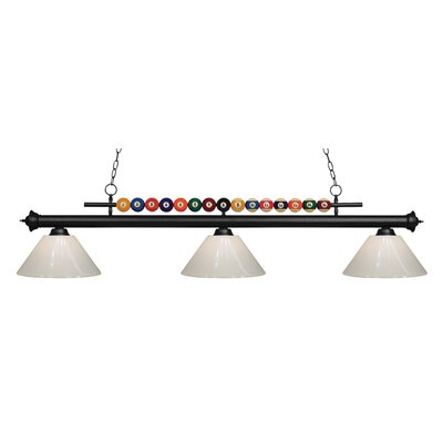 Shark 3-Light Billiard Light Shade Color: White, Finish: Matte Black