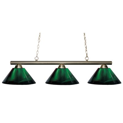Sharp Shooter 3-Light Kitchen Island Pendant Finish: Brushed Nickel, Shade Color: Green