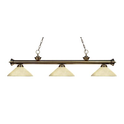 Riviera 3-Light Billiard Light Finish: Antique Brass, Shade Color: Golden Mottle