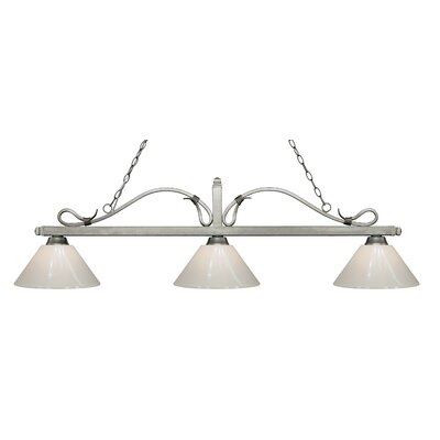 Melrose 3-Light Billiard Light Finish: Antique Silver, Shade Color: White