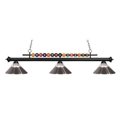 Chapa 3-Light Billiard Light Finish: Matte Black, Shade Color: Clear / Brushed Nickel