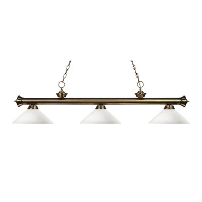 Zephyr Modern 3-Light Bell Shade Billiard Light Finish: Antique Brass, Shade Color: Matte Opal