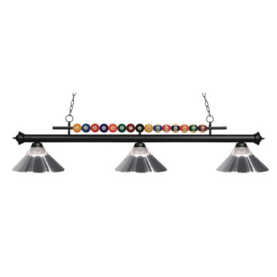 Shark 3-Light Billiard Light Finish: Matte Black, Shade Color: Clear / Chrome