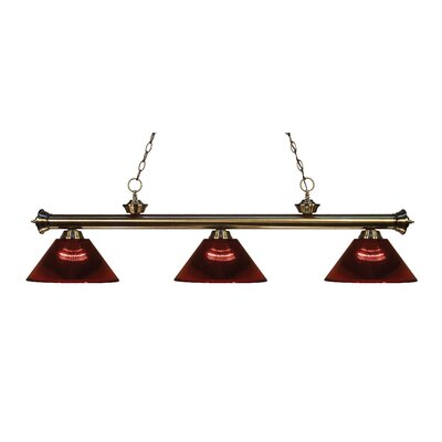 Zephyr Contemporary 3-Light Cone Shade Billiard Light Finish: Antique Brass, Shade Color: Burgundy