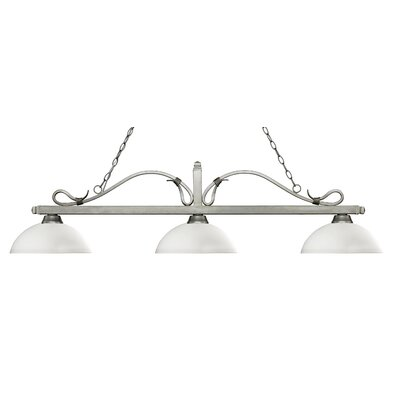Melrose 3-Light Billiard Light Shade Color: Dome Matte Opal, Finish: Antique Silver