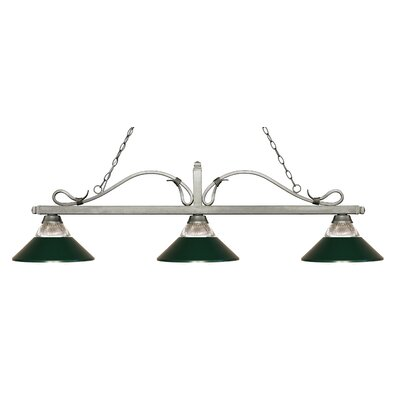 Cendejas 3-Light Billiard Light Finish: Antique Silver, Shade Color: Clear Ribbed/Dark Green