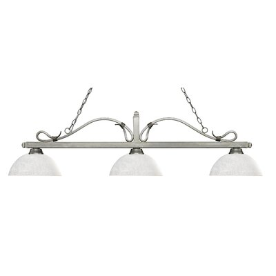 Melrose 3-Light Billiard Light Shade Color: Dome White Linen, Finish: Antique Silver