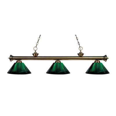 Zephyr Contemporary 3-Light Cone Shade Billiard Light Finish: Antique Brass, Shade Color: Green