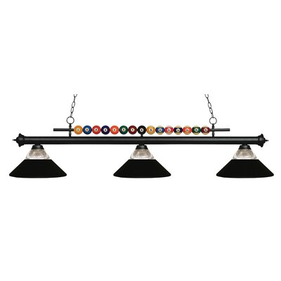 Chapa 3-Light Billiard Light Finish: Matte Black, Shade Color: Clear / Matte Black